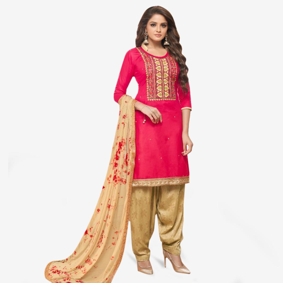 Fantastic Hot Pink Colored Partywear Embroidered Cotton Patiala Suit
