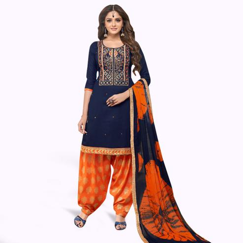 Gorgeous Navy Blue Colored Partywear Embroidered Cotton Patiala Suit
