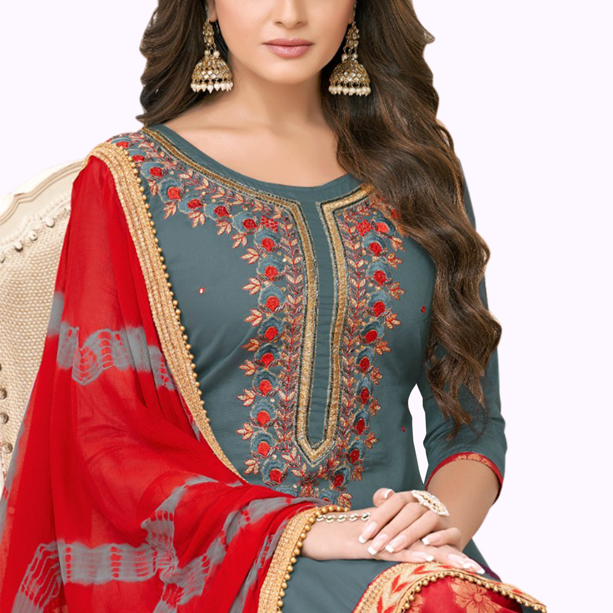 Refreshing Gray Colored Partywear Embroidered Cotton Patiala Suit