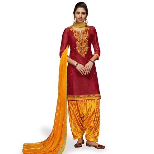 Sensational Maroon Colored Partywear Embroidered Satin Patiala Dress Material