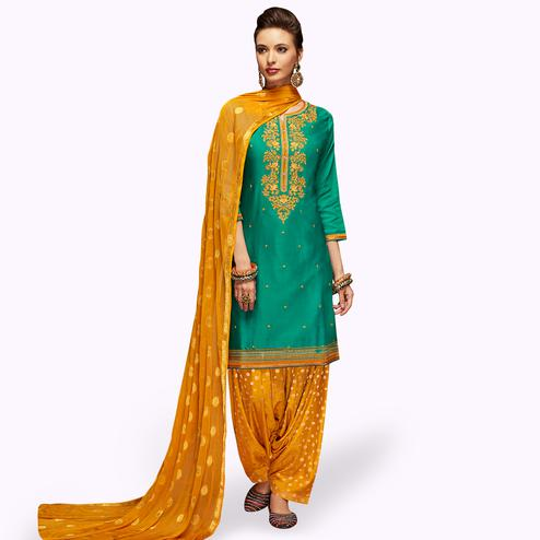 Flaunt Turquoise Green Colored Partywear Embroidered Satin Patiala Dress Material