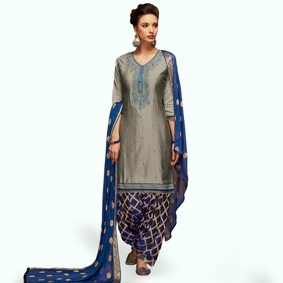 Stunning Gray Colored Partywear Embroidered Satin Patiala Dress Material