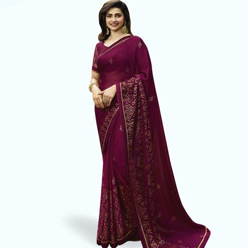 Glowing Dark Magenta Pink Colored Partywear Printed Georgette Saree