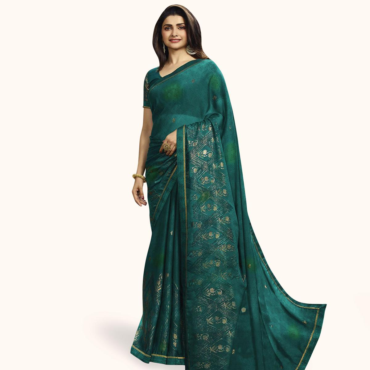 Exceptional Dark Sea Green Colored Partywear Printed Georgette Saree