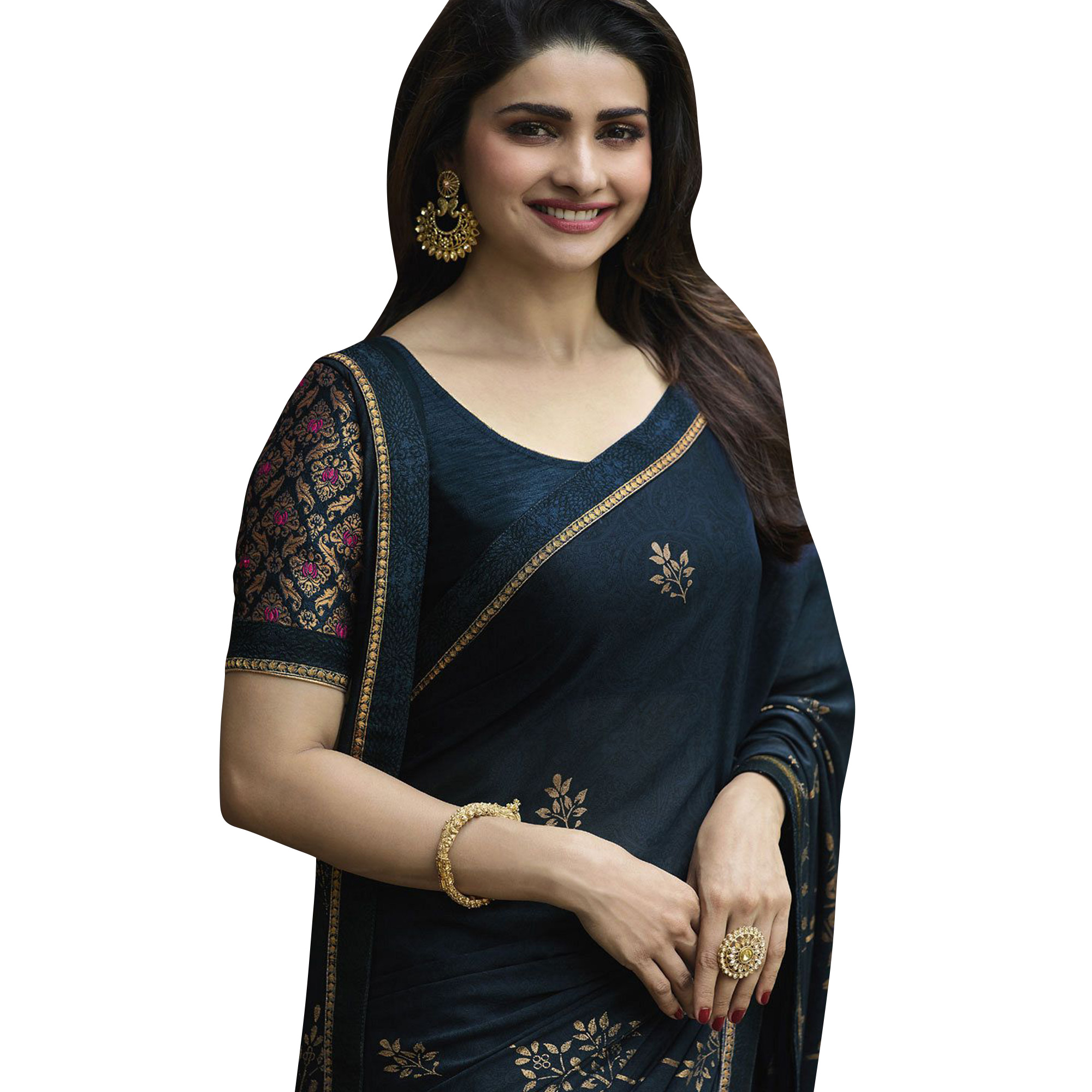 Gleaming Navy Blue Colored Partywear Printed Georgette Saree