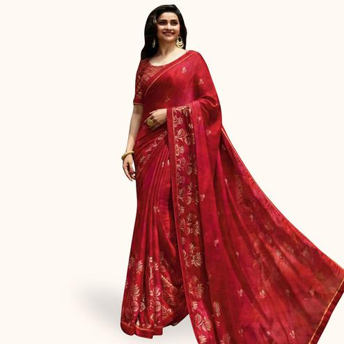 Mesmeric Red Colored Partywear Printed Georgette Saree