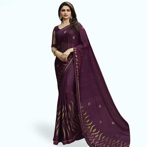 Unique Purple Colored Partywear Printed Georgette Saree