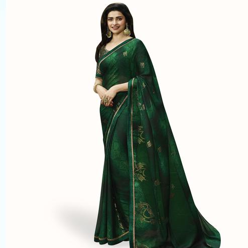 Demanding Dark Green Colored Partywear Printed Georgette Saree
