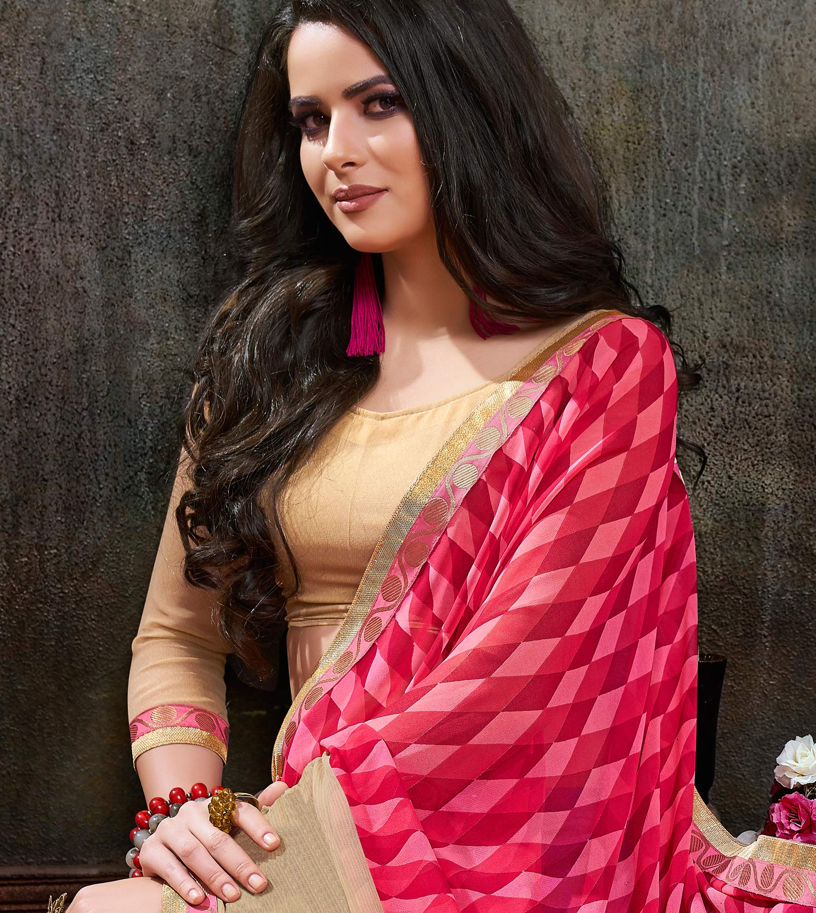 Beautiful Pink Georgette Printed Saree