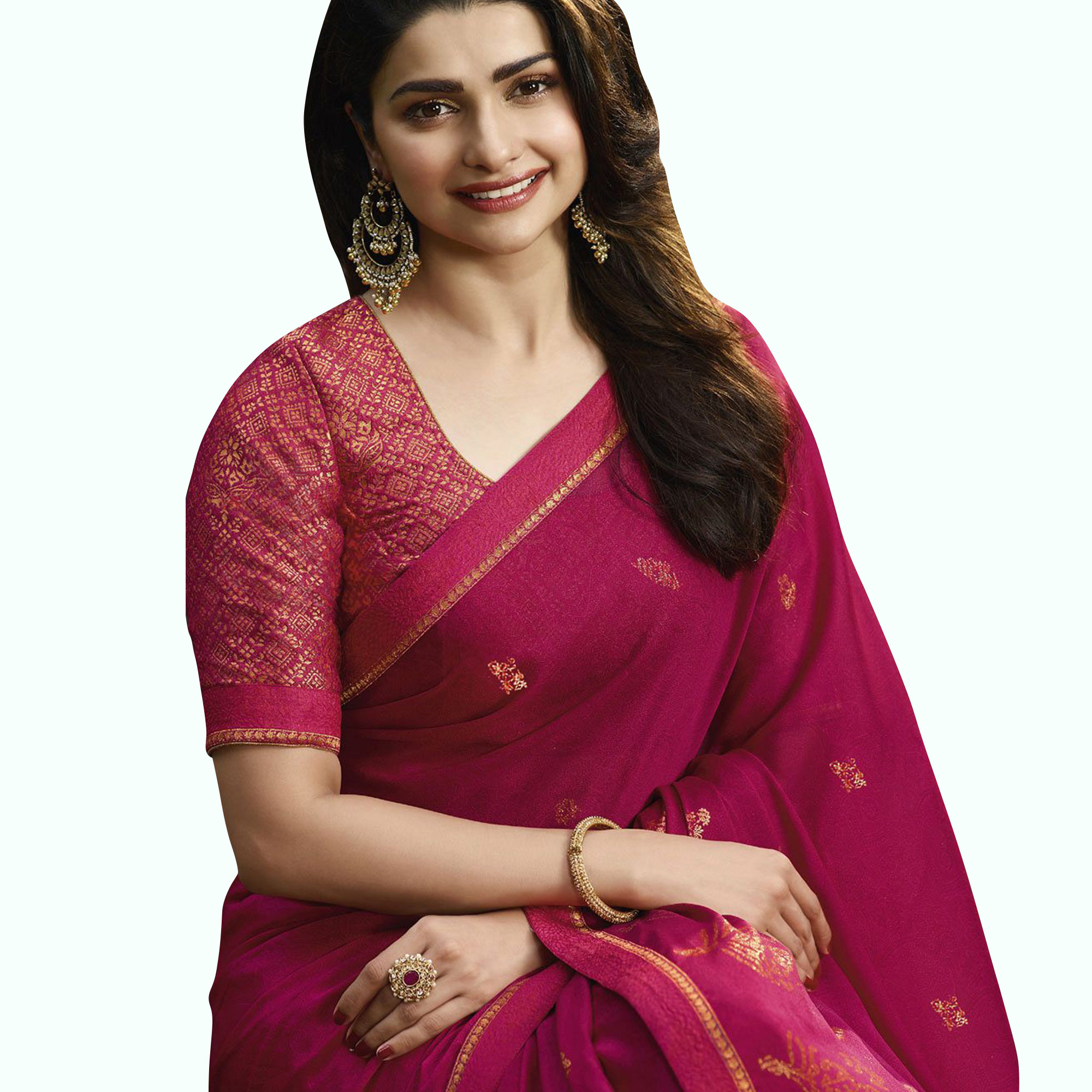 Refreshing Hot Pink Colored Partywear Printed Georgette Saree