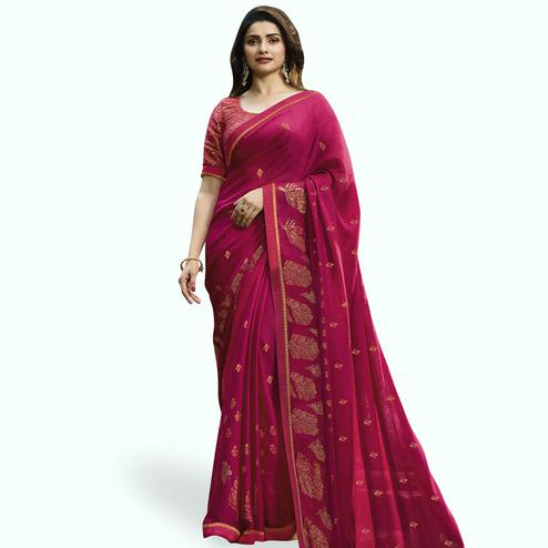 6357f9c53ec Refreshing Hot Pink Colored Partywear Printed Georgette Saree