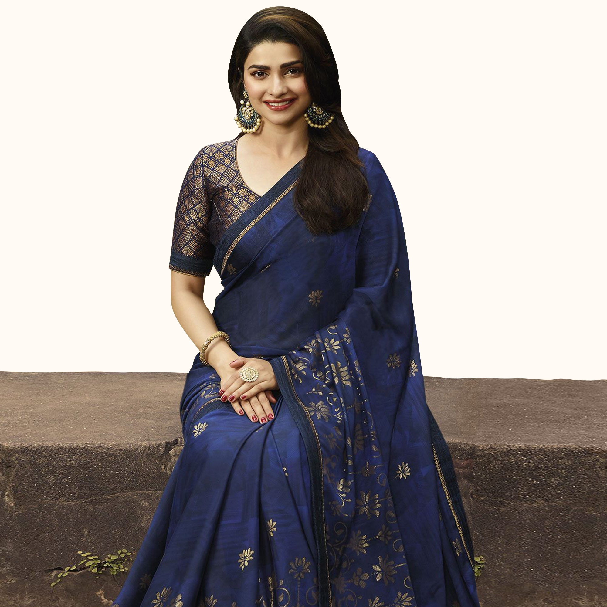 Magnetic Blue Colored Partywear Printed Georgette Saree