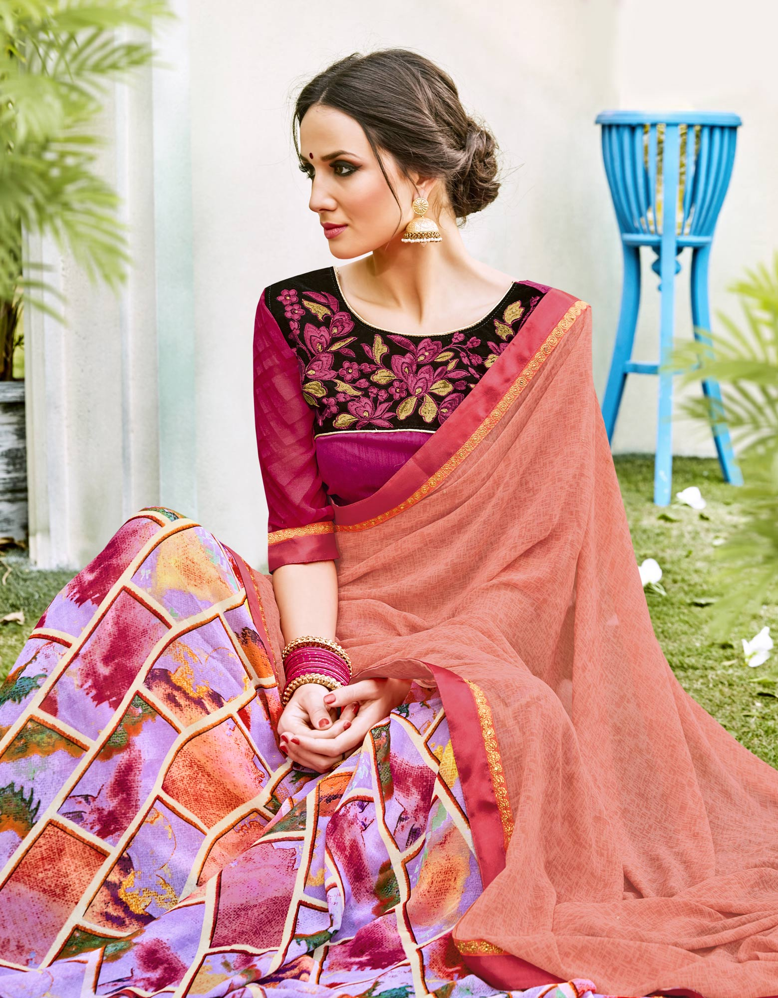Orange-Purple Designer Partywear Georgette Saree