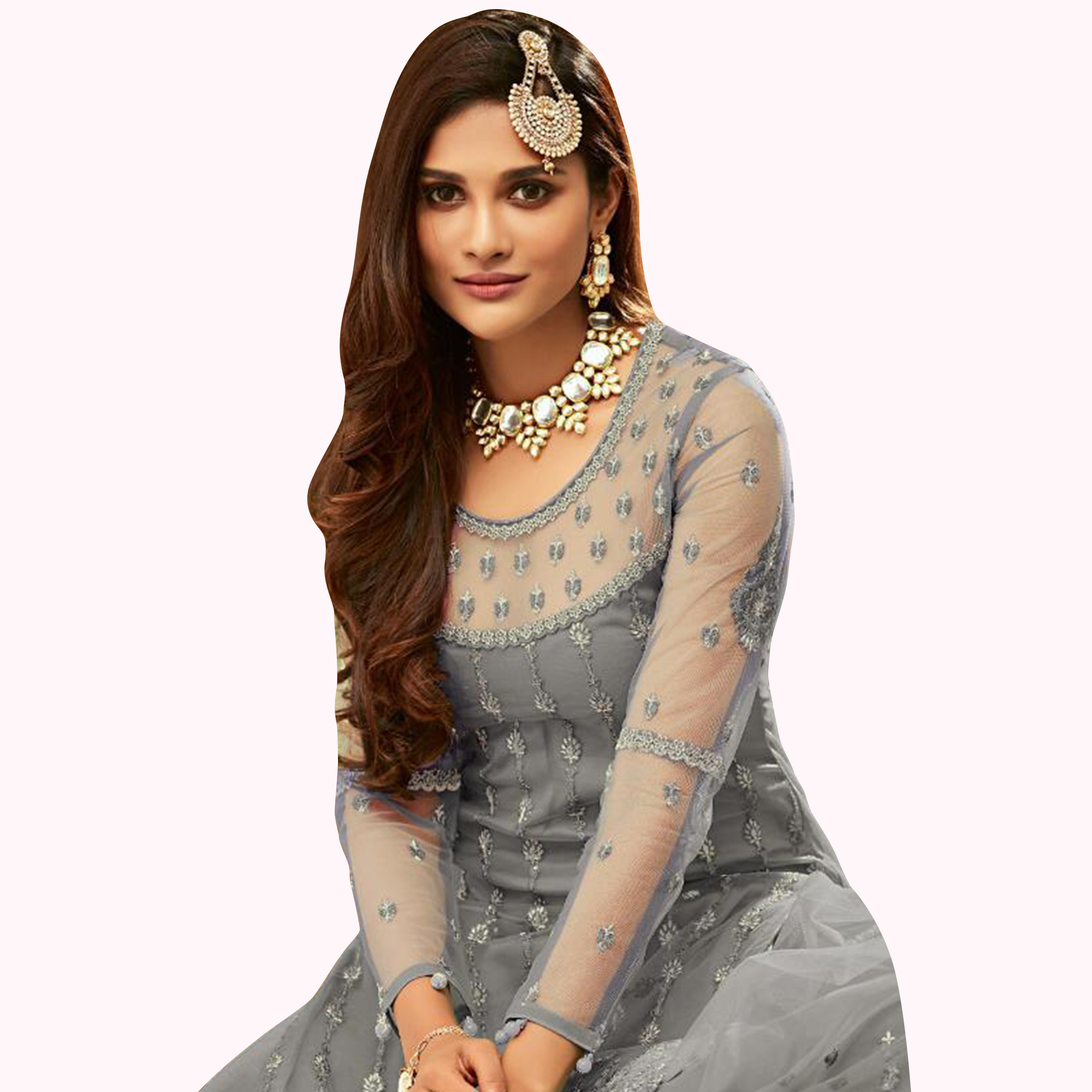 Preferable Gray Colored Partywear Embroidered Net Lehenga Kameez