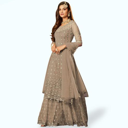 Mesmeric Gray Colored Partywear Embroidered Net Lehenga Kameez