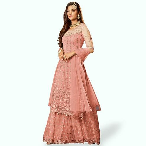 Eye-catching Salmon Colored Partywear Embroidered Net Lehenga Kameez