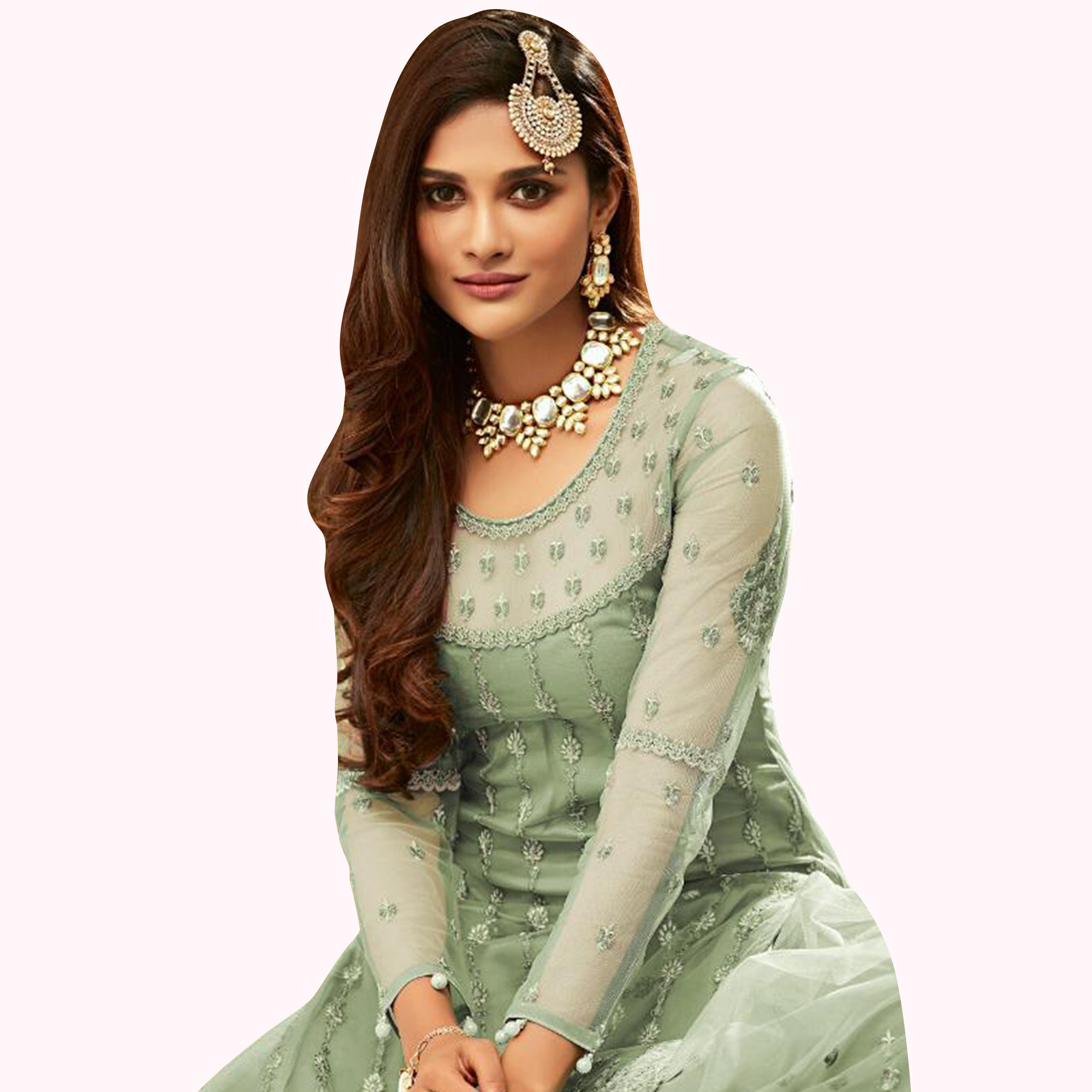 Imposing Pastel Green Colored Partywear Embroidered Net Lehenga Kameez