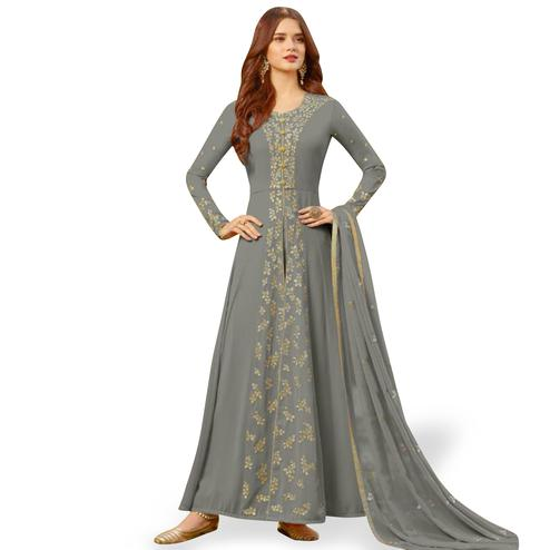 Engrossing Gray Colored Partywear Embroidered Georgette Anarkali Suit