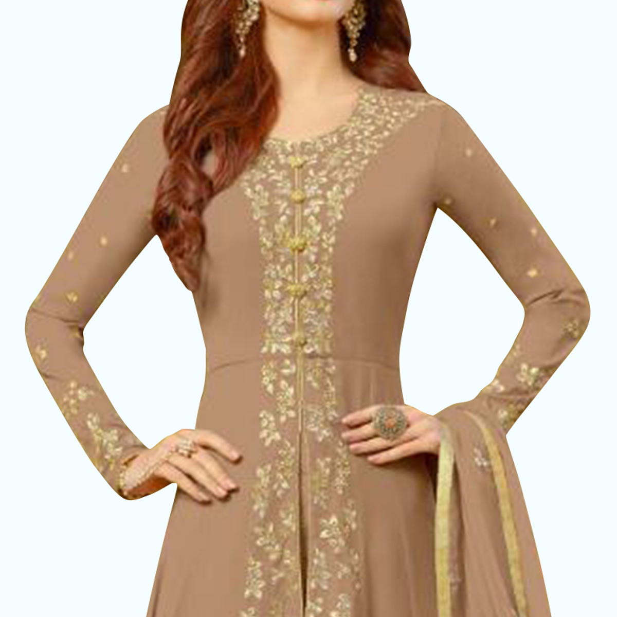 Captivating Brown Colored Partywear Embroidered Georgette Anarkali Suit