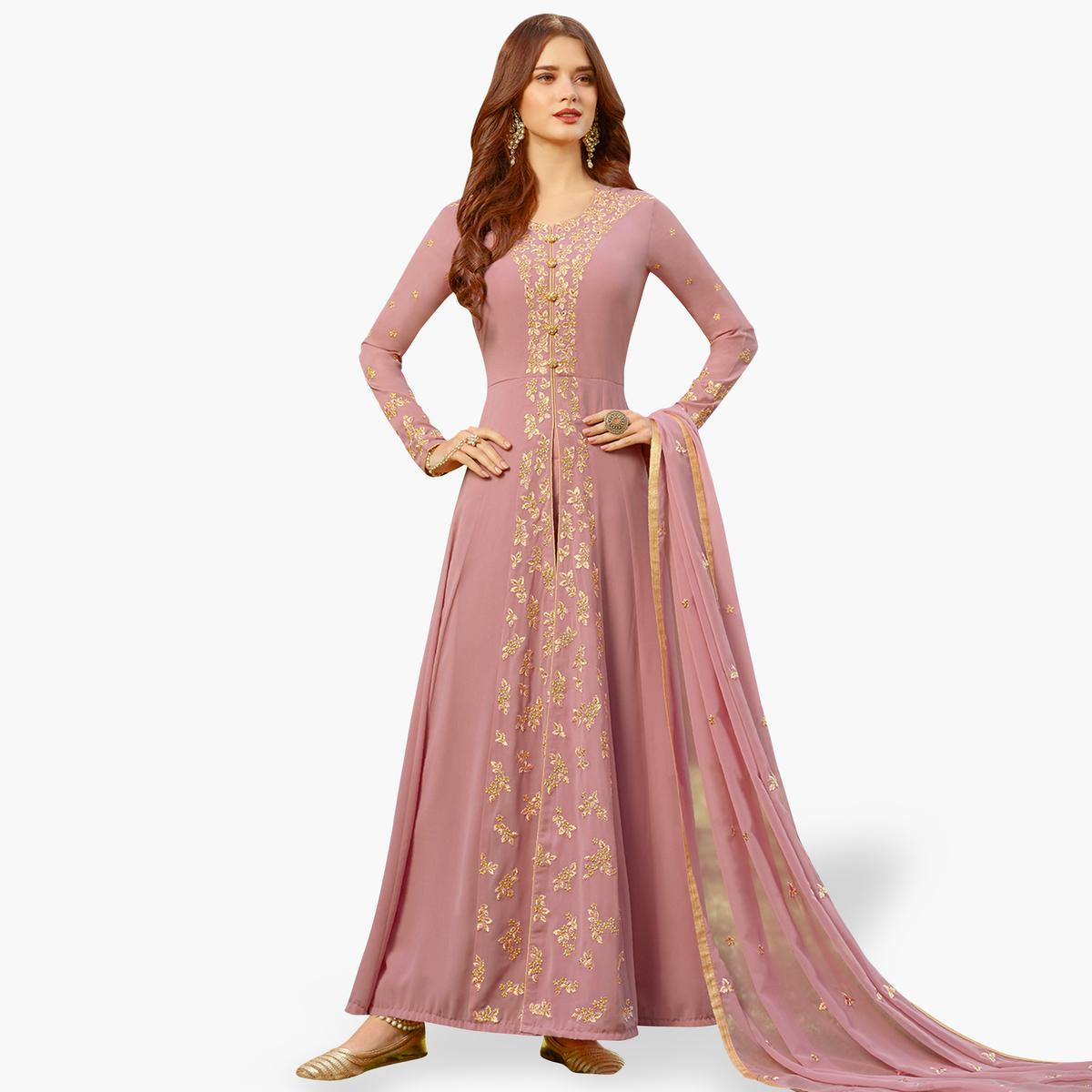 Innovative Pink Colored Partywear Embroidered Georgette Anarkali Suit