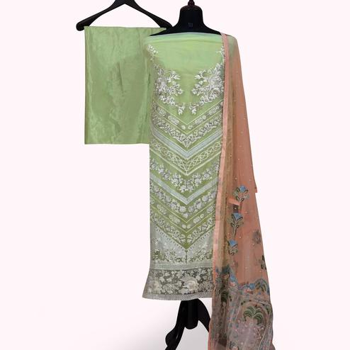 Capricious Pista Green Colored Partywear Embroidered Net Palazzo Suit