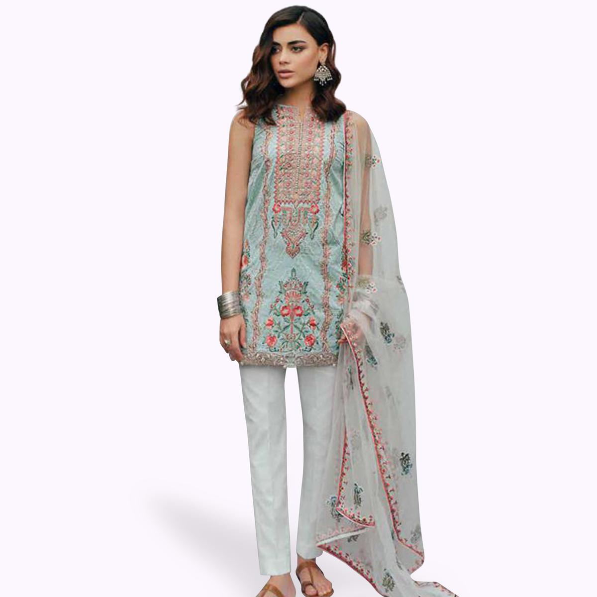 Amazing Pastel Blue Colored Partywear Embroidered Cotton Suit