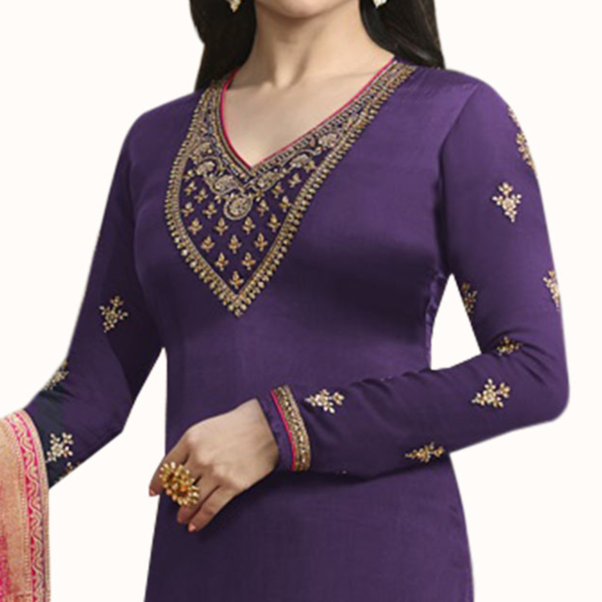 Demanding Purple Colored Party Wear Embroidered Georgette Suit
