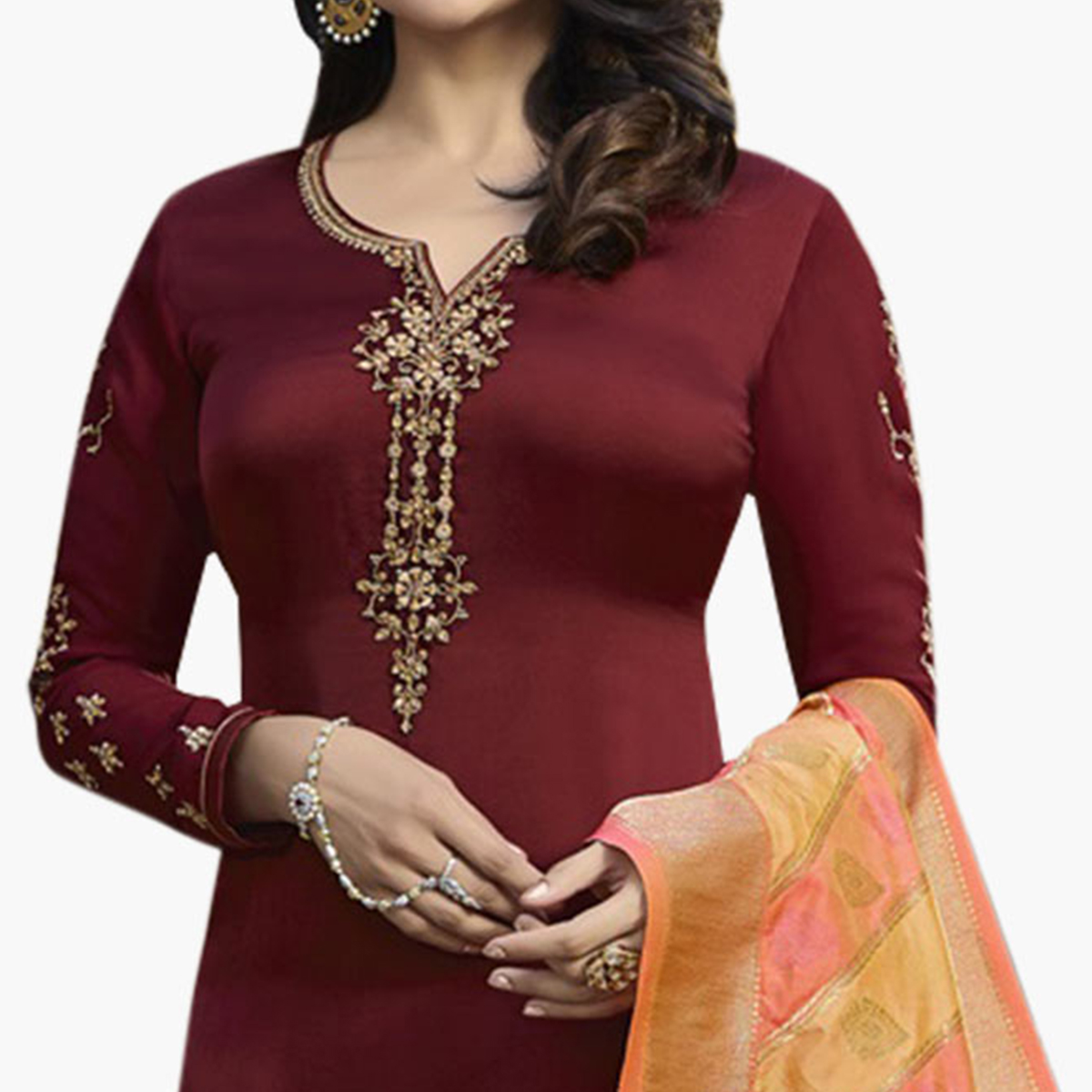 Magnetic Maroon Colored Partywear Embroidered Georgette Suit