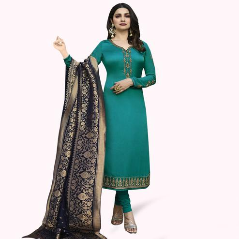 Hypnotic Rama Green Colored Partywear Embroidered Georgette Suit