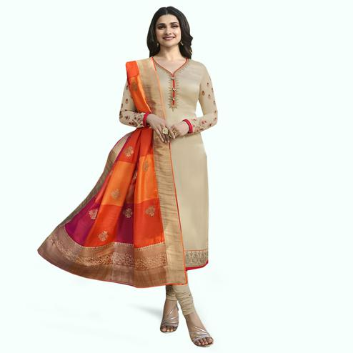 Flattering Beige Colored Partywear Embroidered Georgette Suit