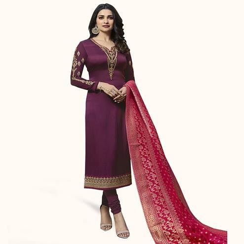 Excellent Violet Colored Partywear Embroidered Georgette Suit