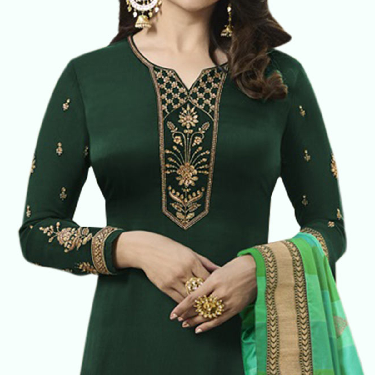 Preferable Dark Green Colored Partywear Embroidered Georgette Suit