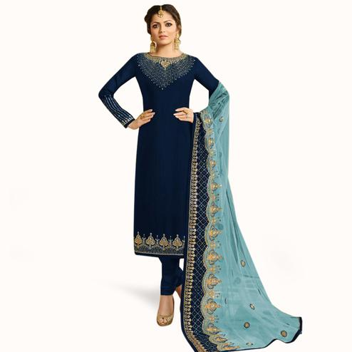Intricate Navy Blue Colored Partywear Embroidered Georgette Silk Suit