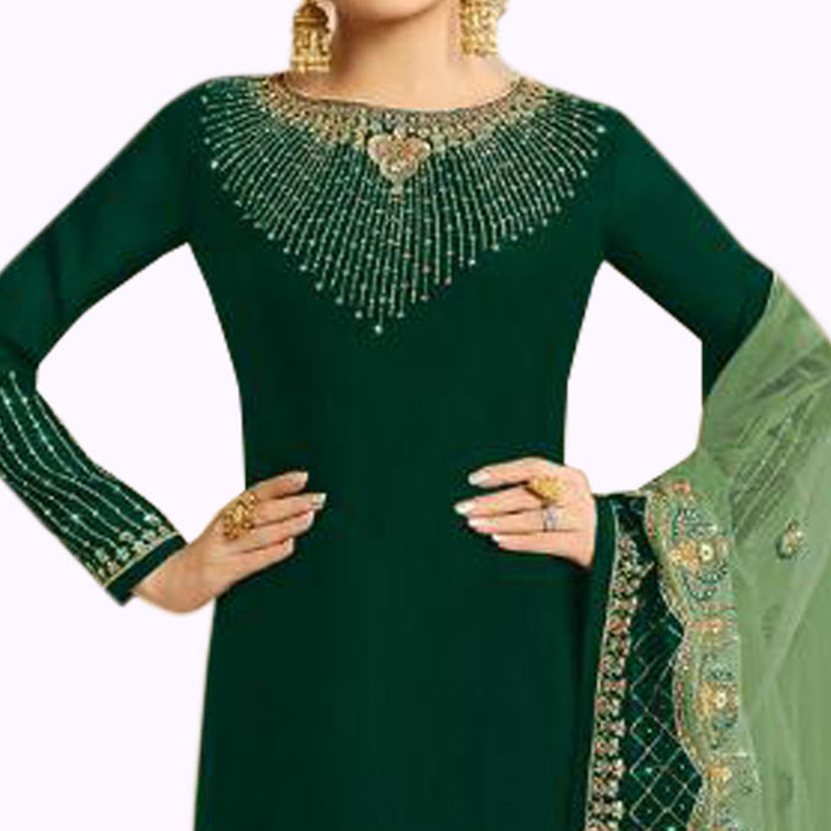 Arresting Green Colored Partywear Embroidered Georgette Silk Suit