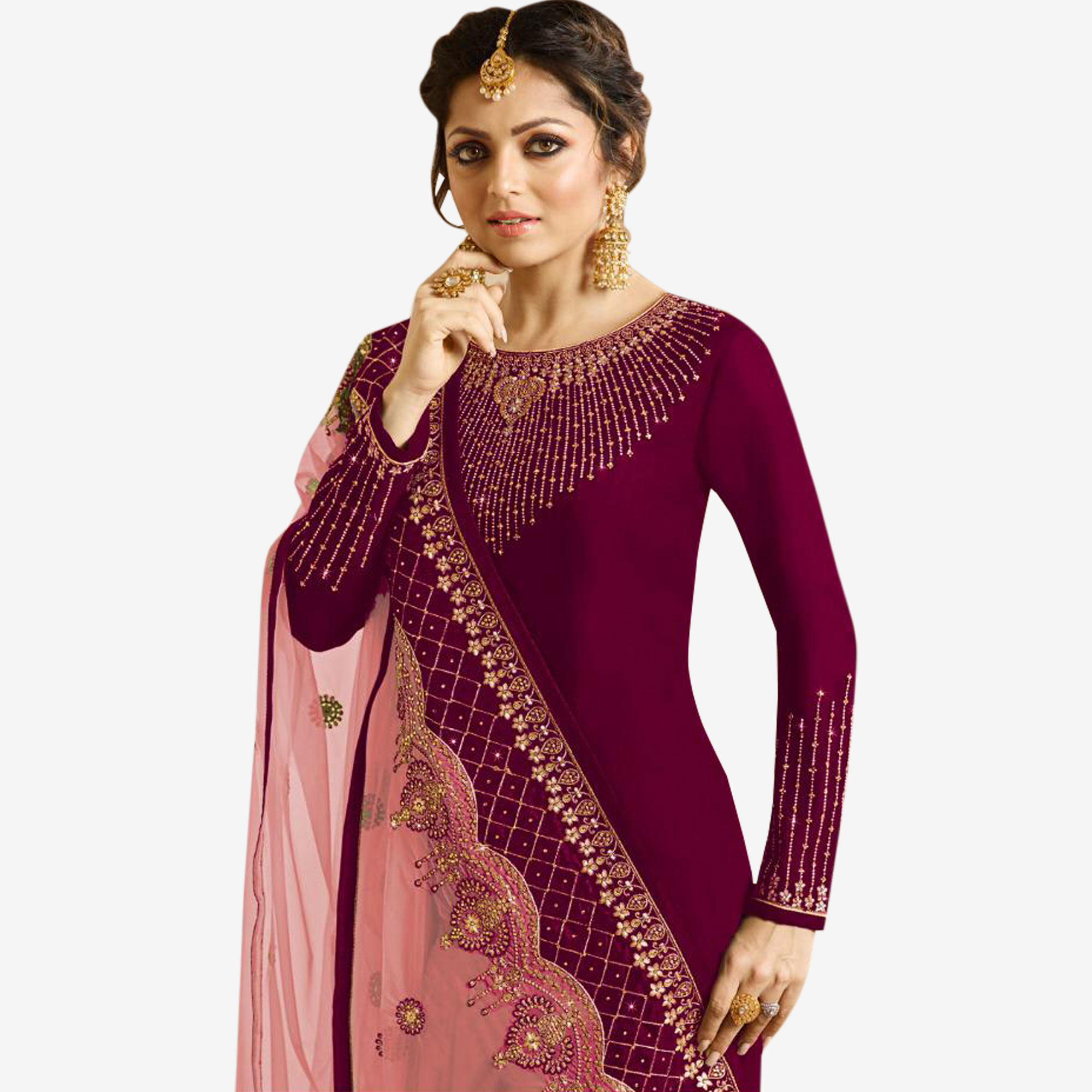 Desirable Maroon Colored Partywear Embroidered Georgette Silk Suit