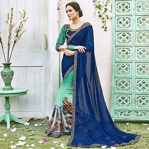 Blue-Green Designer Partywear Georgette Saree