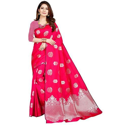 Blissful Pink Colored Festive Wear Printed Art Silk Saree