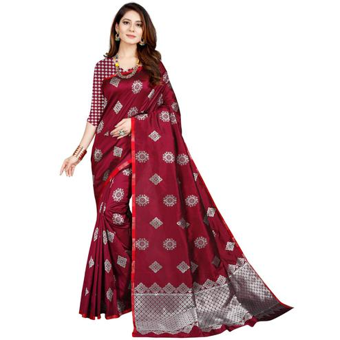 Ideal Wine Colored Festive Wear Printed Art Silk Saree