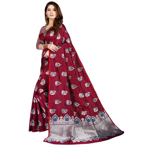 Imposing Wine Colored Festive Wear Printed Art Silk Saree