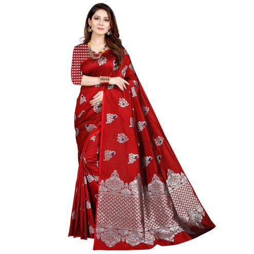 Lovely Dark Red Colored Festive Wear Printed Art Silk Saree