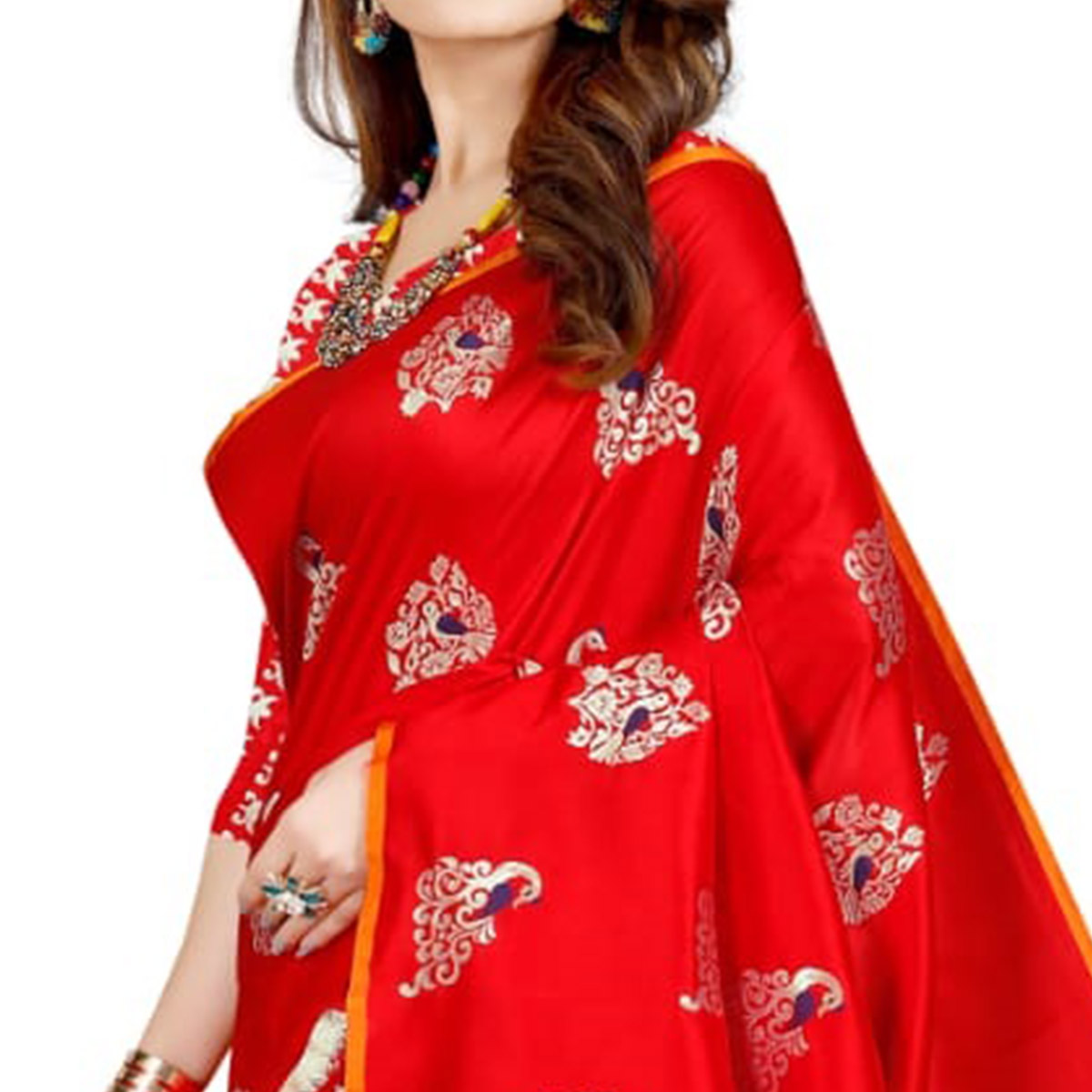 Majesty Red Colored Festive Wear Printed Art Silk Saree