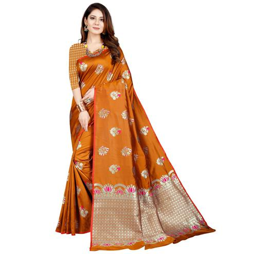Elegant Orange Colored Festive Wear Printed Art Silk Saree