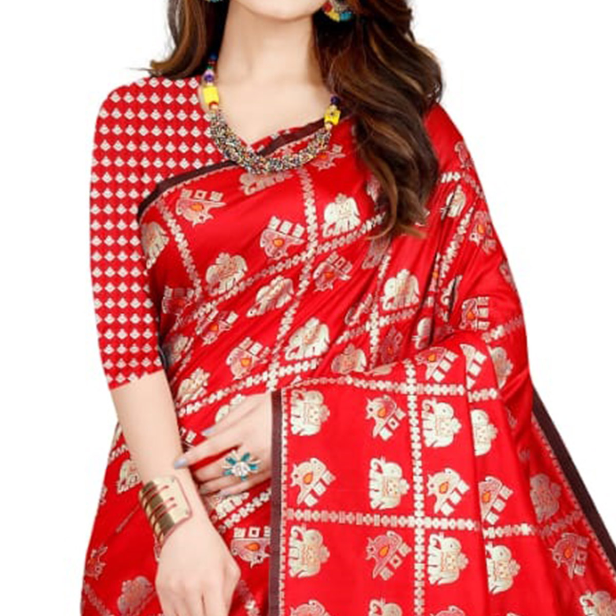 Radiant Red Colored Festive Wear Printed Art Silk Saree