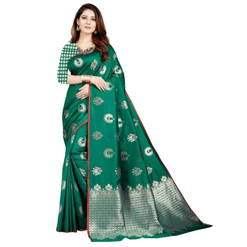 Pleasant Turquoise Green Colored Festive Wear Printed Art Silk Saree