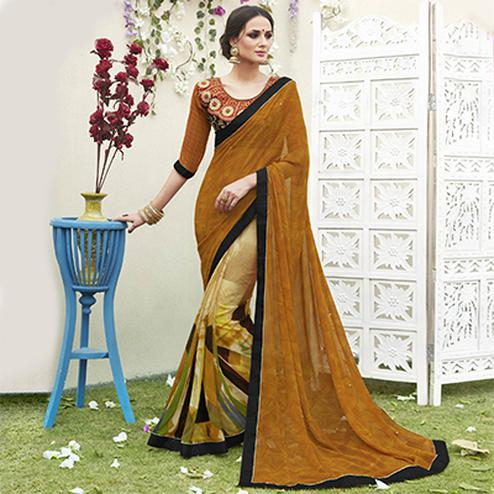 Shaded Brown Designer Partywear Georgette Saree