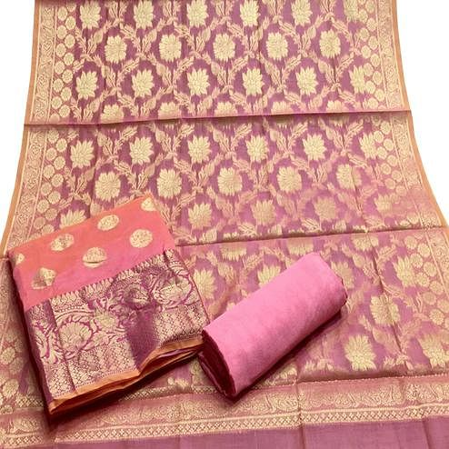 Magnetic Pink Colored Partywear Woven Banarasi Silk Dress Material