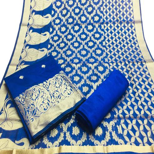 Excellent Blue Colored Partywear Woven Banarasi Silk Dress Material