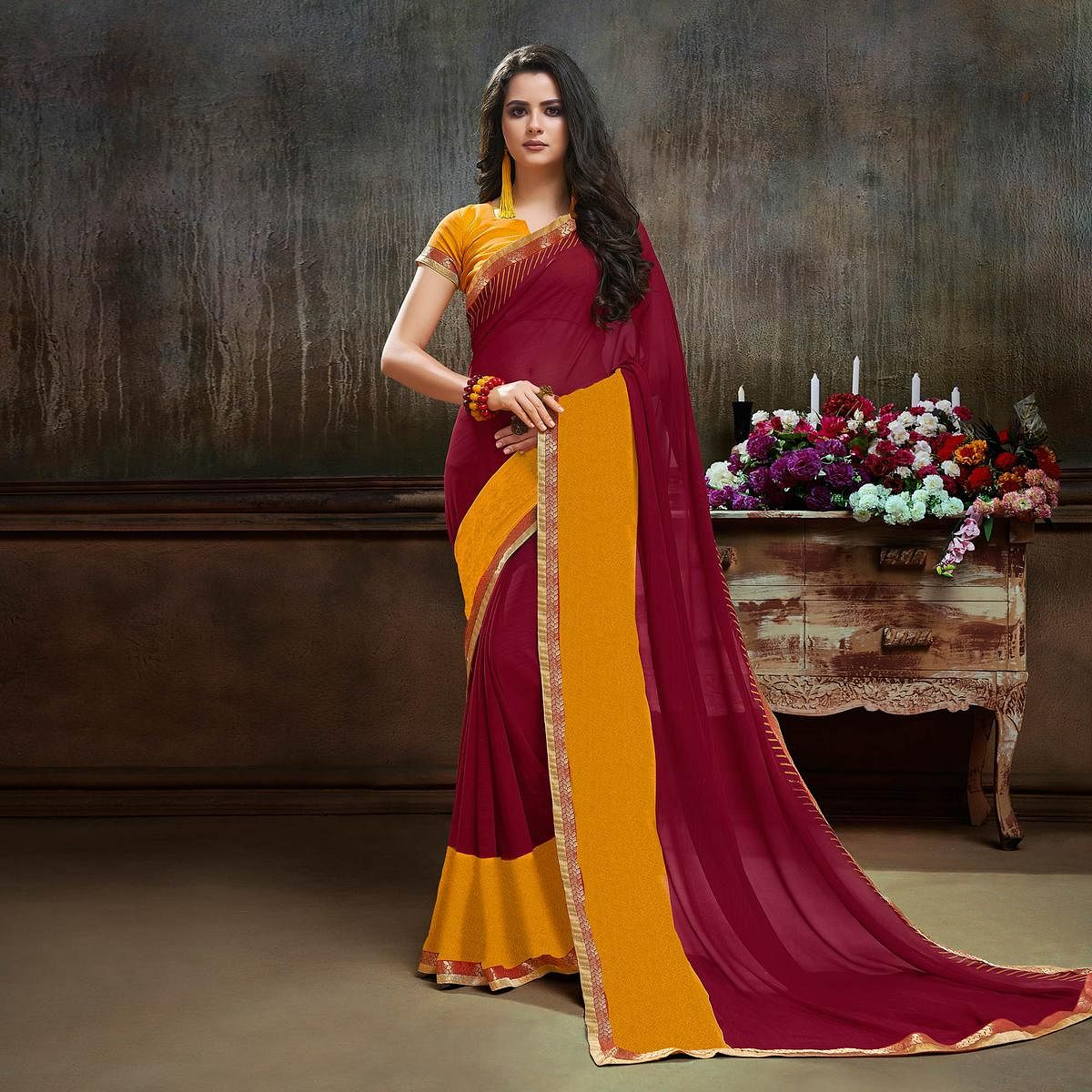 Stylish Maroon - Yellow Georgette Saree