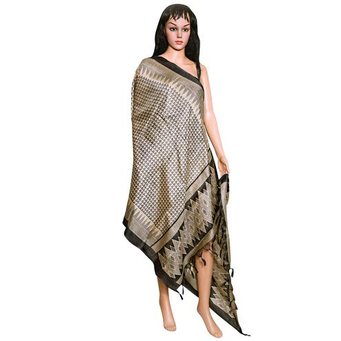 Entrancing Brown Colored Festive Wear Printed Khadi Silk Dupatta