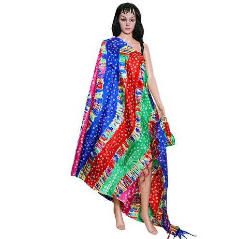 Captivating Multi Colored Festive Wear Printed Khadi Silk Dupatta